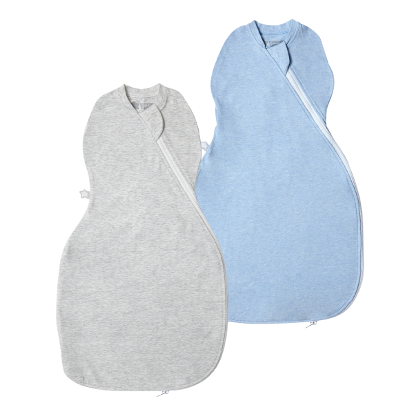 The Original Grobag Grey & Blue Marl Easy Swaddle Twin Pack 0-3m
