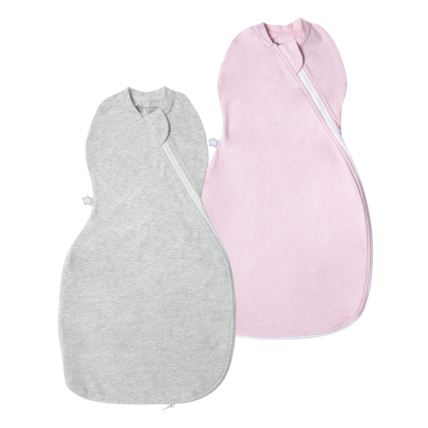 The Original Grobag Grey & Pink Marl Easy Swaddle Twin Pack 0-3m