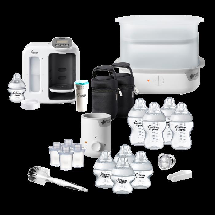 Complete-baby-bottle-feeding-bundle-including-perfect-prep-steriliser-bottle-warmer-9-bottles-filter-milk-powder-dispensers-newborn-soother-bottle-and-teat-brush
