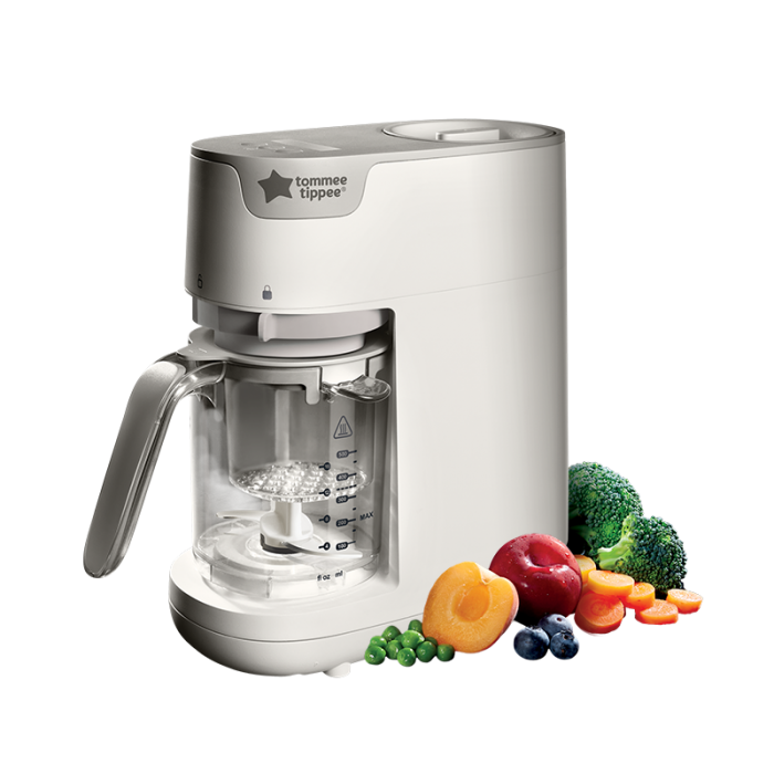 white-Quick-Cook-Baby-Food-Maker-with-fruit-and-vegetables